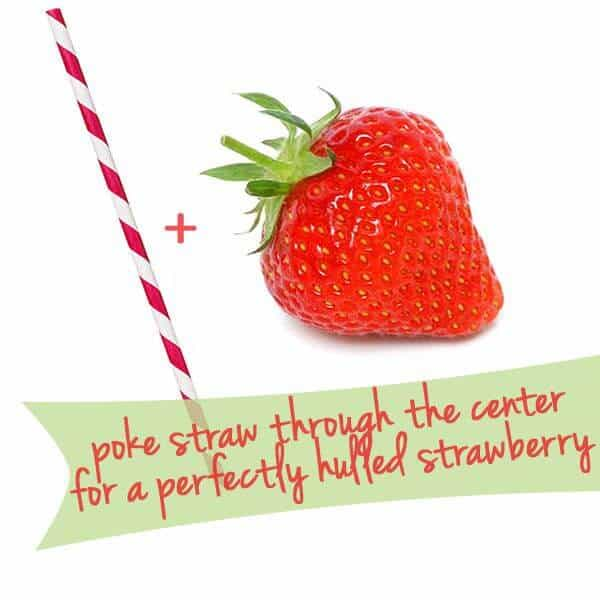 kitchen hacks, straw in strawberry