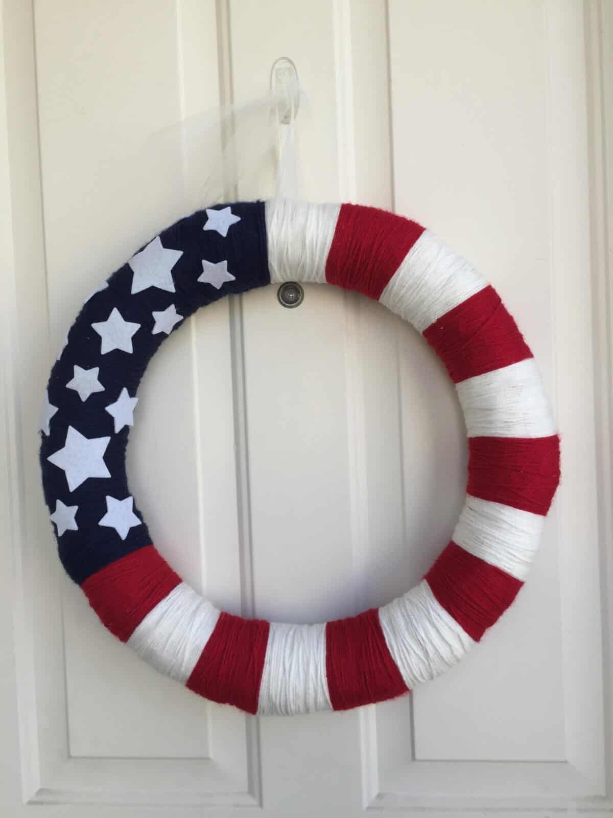 DIY Patriotic Yarn Wreath