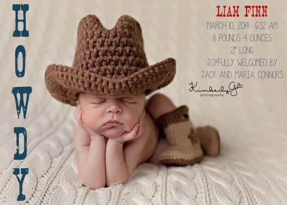 9 Awesome Baby Boy Birth Announcements – Cowboy Birth Announcements