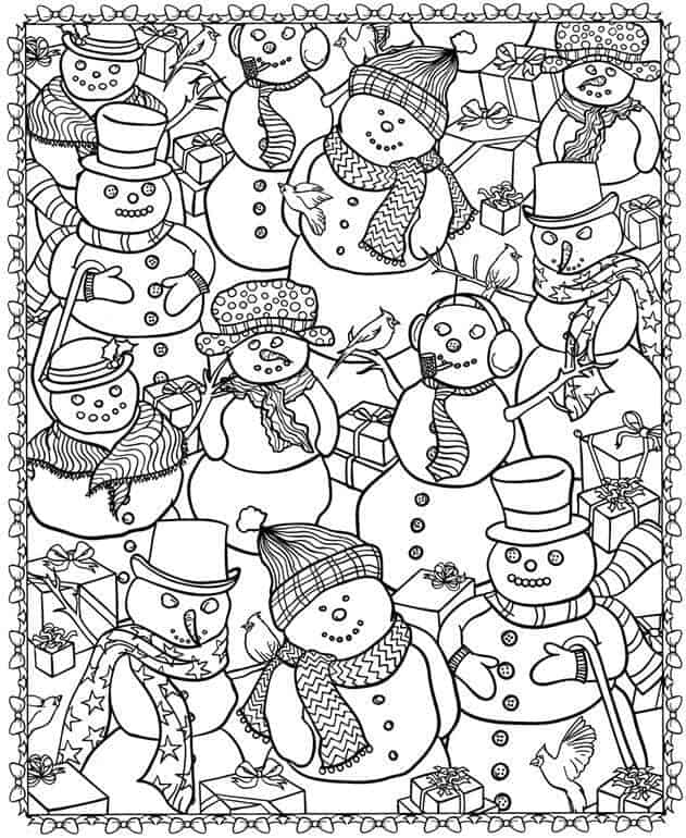 4 snowmen everywhere coloring adult christmas snowman
