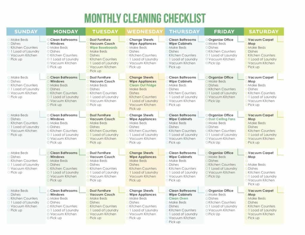 photo about Cleaning List Printable identified as 7 Remarkable Printable Cleansing Schedules