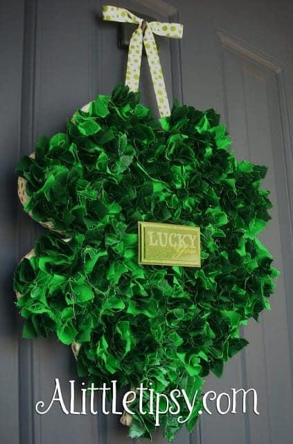 St Patricks Fabric Scrap Shamrock Door Hanger