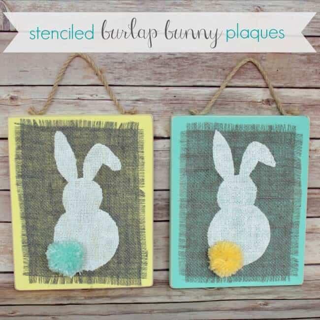 Stenciled-Burlap-Bunny-Plaques-4