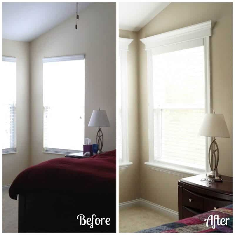 Window Trim Before After Two Purple Couches