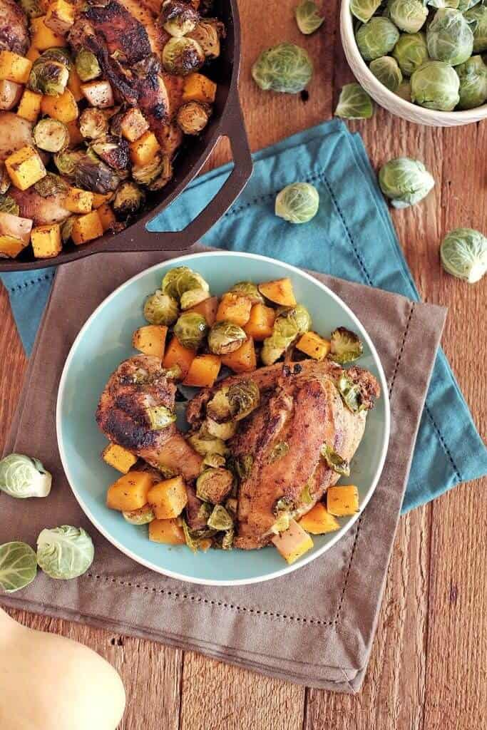 Chicken-skillet-with-brussels-and-squash-two-e1445813596995
