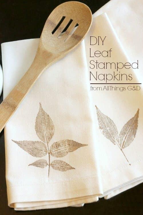 DIY_Leaf_Stamped_Napkins