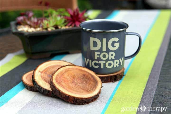 Enamel-Dig-for-Victory-Mug-and-Natural-Branch-Coasters-Project-via-Garden-Therapy-coasters-recycle1