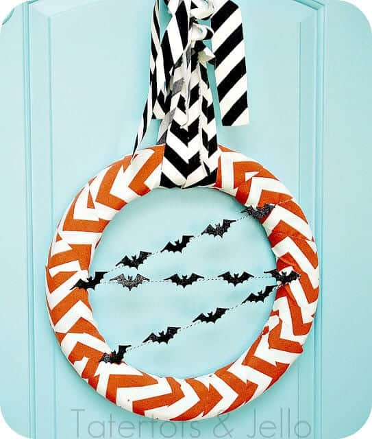 chevron halloween wreath straight on