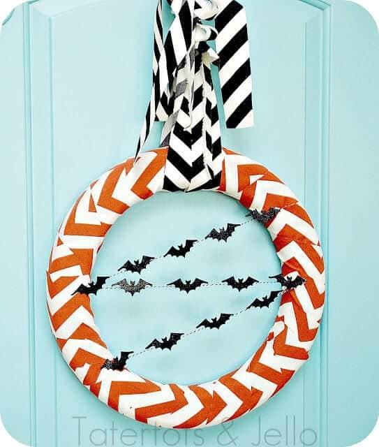 chevron halloween wreath straight on