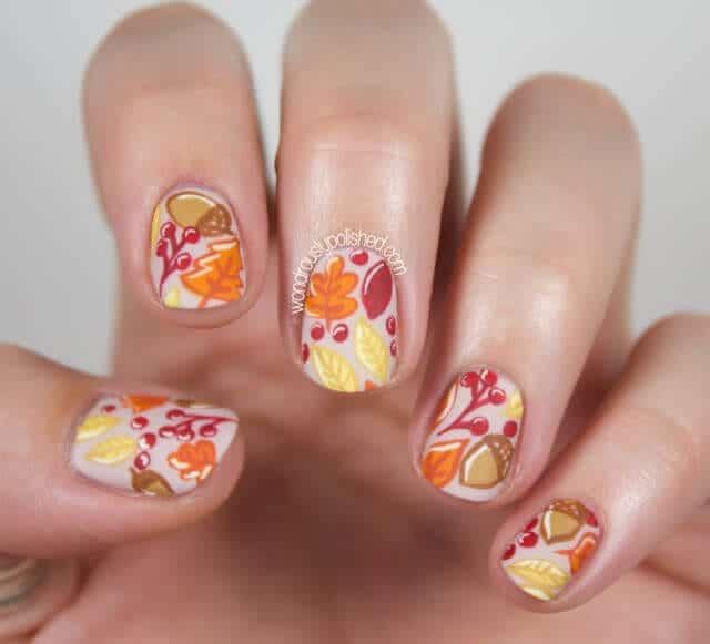 source: Wondrously Polished - 9 Festive Fall Nail Designs