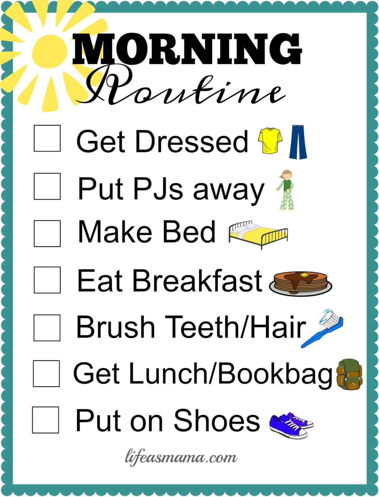 picture regarding Morning Routine Printable identify Cost-free Printable College or university Schedule Checklists