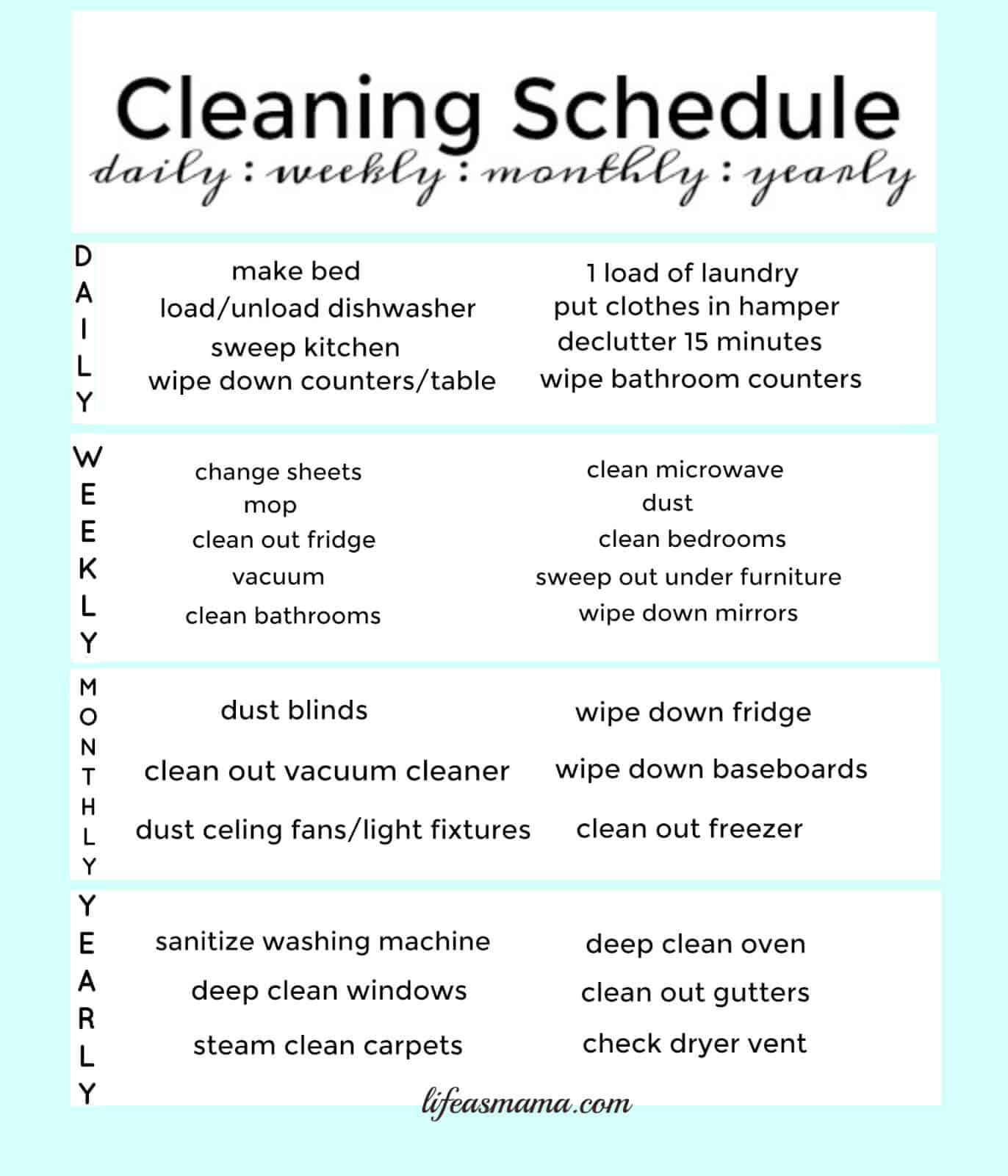 Free Printable Cleaning Schedule – Cleaning Schedule