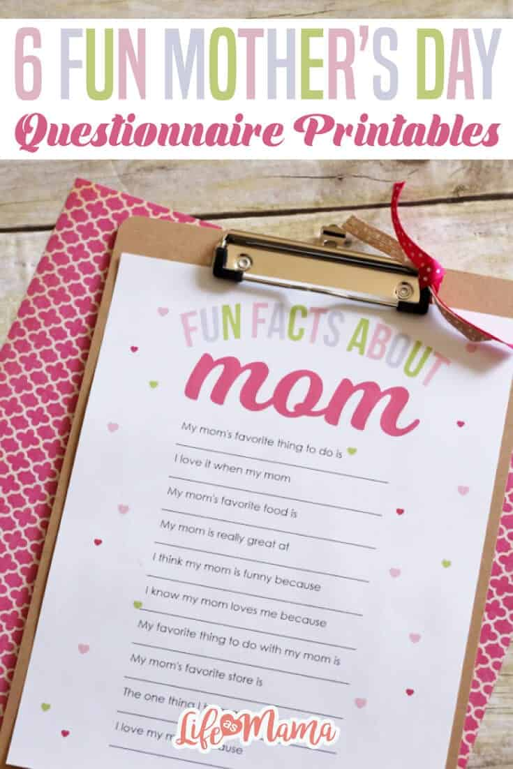 6 Fun Mother's Day Questionnaire Printables