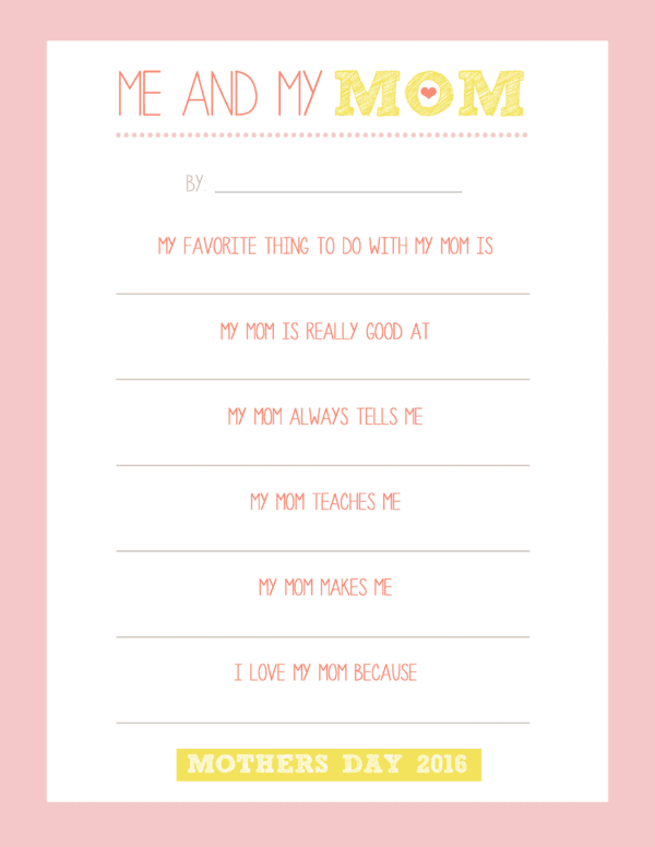 Me and My Mom Mothers Day Questionnaire
