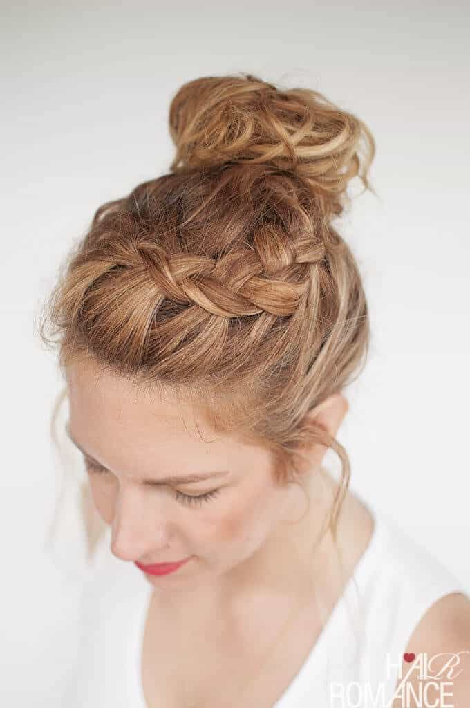 hair curly styles 6 braided top knots to give you hair envy 1321 | Hair Romance Everyday curly hairstyles Curly Braided Top Knot Hairstyle Tutorial B 680x1024