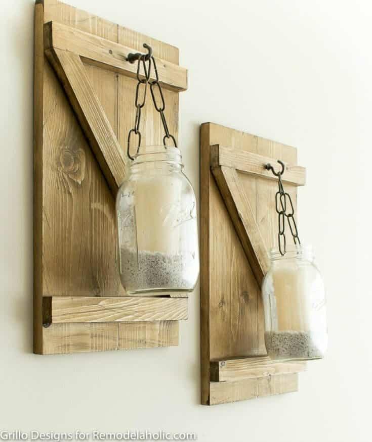 rustic hanging mason jar candle holders grillo designs www.grillo designs.com