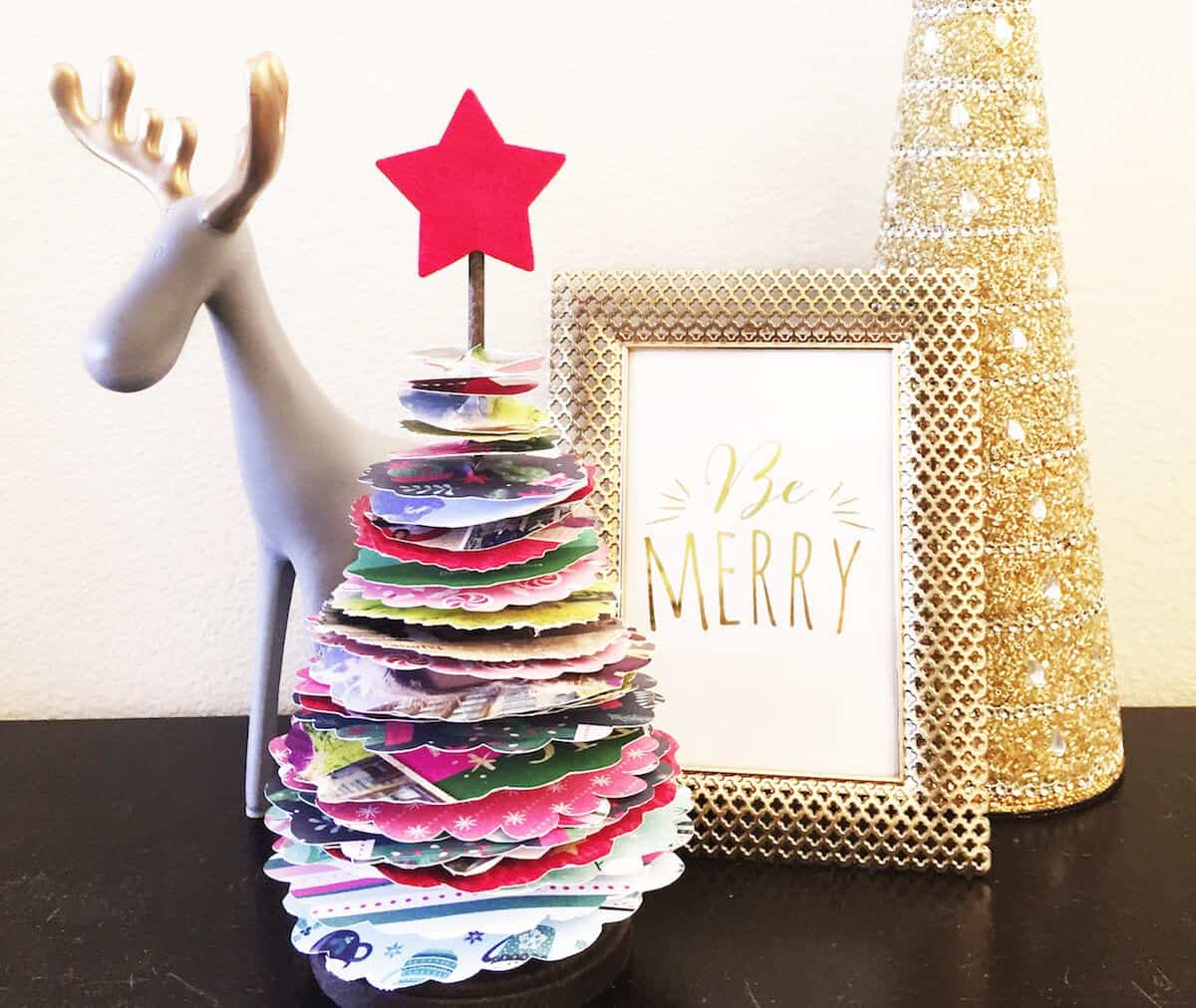 Diy Upcycled Christmas Card Topiary