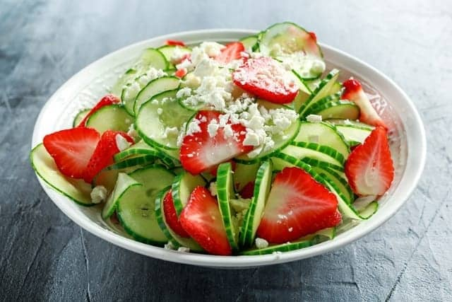 Strawberries and Cucumber Salad