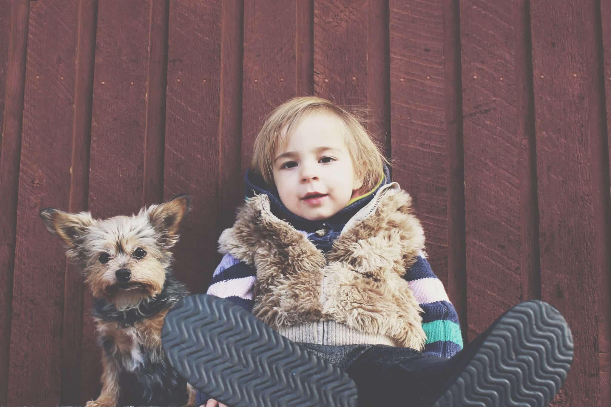 boy with pet dog puppy